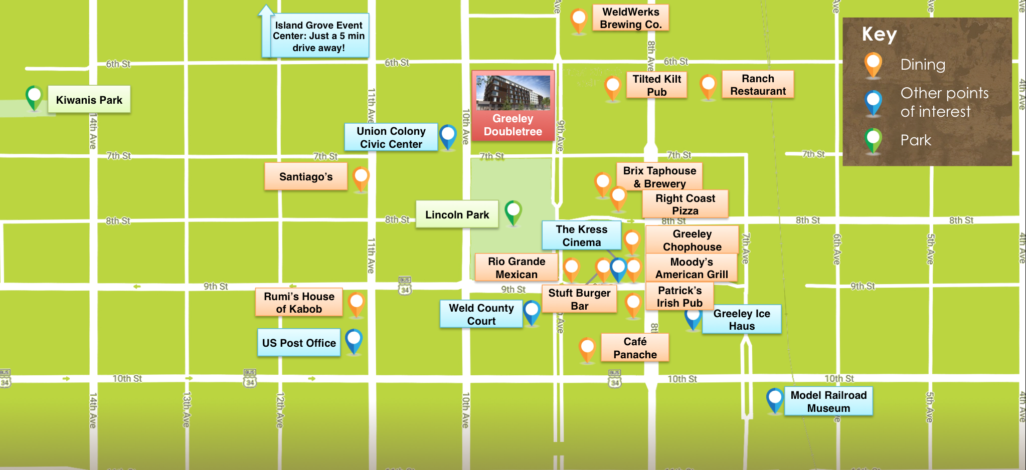 Greeley, CO Downtown Map